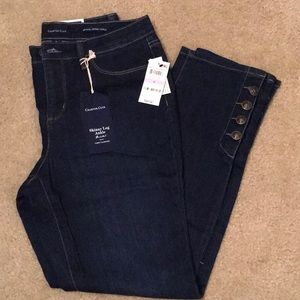 High-Waisted Skinny Jeans with Button Accent